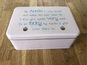 Shabby Personalised chic AUNTIE AUNTY AUNT Cake Biscuit Tin gift ANY NAME Baker - 253889153318
